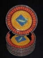 Set of 9 Johnson Brothers Stoneware Caribbean Salad Plates