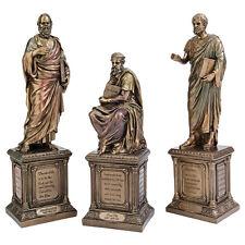 Ancient Greek Philosophers Socrates Plato Aristotle Bronze Finish Statue Set