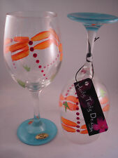 2 Hand-Painted Orange & Turquoise Dragonfly Wine Glasses