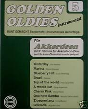 Akkordeon Noten : Golden Oldies 5  SCHLAGER   mittelschwer (Marina Yesterday etc