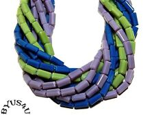 GLASS BEADS SATINA TUBE FACETED 7x3.5mm MIX PURPLE LIME NAVY 100pc