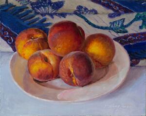 "Original oil painting still life classic realism peaches 10x8"", Y Wang Fine Art"