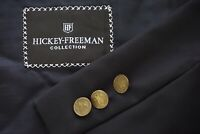 Hickey Freeman Boardroom Navy Blue Metal Button Sport Coat Jacket Sz 44L