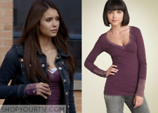 Free People Eggplant Purple Zipper Cuff Thermal Top Shirt L ASO Elena Gilbert
