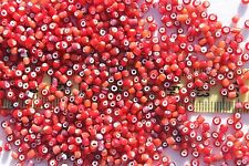 8/0 Vintage Antique Red w/Lt.Rose/Amethyst White Heart Glass Seed Beads 1oz