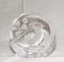 Mat Jonasson Chickadee Lead Crystal Paperweight 9205 Sweden Signed