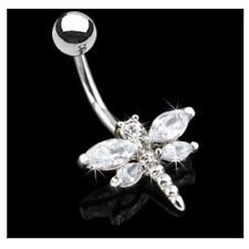 SPARKLING CZ GEM DRAGONFLY BELLY RING NAVEL BUTTON PIERCING JEWELRY
