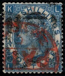 1867 QV SG119 Deep Blue J118(2) Plate 1 LK Red Cancel Fine Used CV £240 Scarce