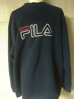 Vintage 90s FILA Fleece Crewneck Sweatshirt Men's XL Big Logo Dark Blue Pullover