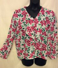 Size 14 FLORAL PINK FLOWERS BIG FLAP COLLAR WOMAN VINTAGE TOP BLOUSE sheer