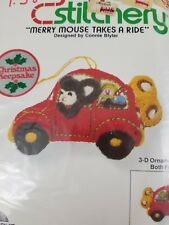 Jiffy Stitchery Merry Mouse Takes a Ride 3D Ornament Vintage Crewel Embroidery