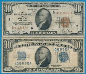 $10. 1934 BLUE SEAL SILVER CERTIFICATE +$10. 1929  NEW YORK BROWN SEAL PAIR