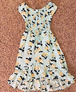 JUSTICE SMOCKED HI LO PRETTY DRESS SZ 10 EUC