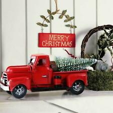 Vintage Metal Classic Rustic Pickup Truck w/Christmas Tree Home Office Decor Red