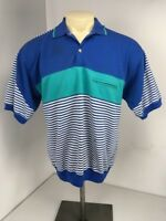 VTG 80s The Fox Collection Blue White Colorblock Striped Polo S/S T-Shirt Sz L
