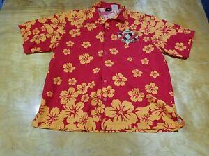 Mens Cerveza XX Dos Equis Red Floral Button up Shirt Size L