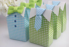 50pcs My Little Man Blue Green Bow Tie Birthday Boy Baby Shower Favor Candy box
