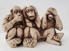 Speak no evil, hear no evil, see no evil monkeys. Cast resin figurine. 3 truths