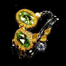Handmade Natural Peridot 925 Sterling Silver Ring Size 7.5/R108917
