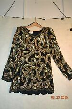 Special Occasion Ladies ALYCE DESIGNS Sequined/Bead Blouse/Top Size 8 Multi/Gold