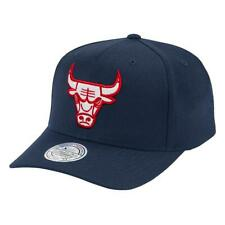 Chicago Bulls Mitchell & Ness NBA Red & White 110 Curve Snapback Hat - Navy