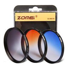 ZOMEi 77mm graduated gradual grad colour 3 x filter kit (grey blue orange)