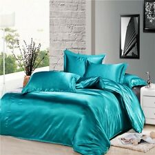 3 Piece Turquoise Silky Satin Duvet Cover Zipper Closure Set King Size