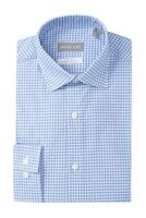 Michael Kors Men Dress Shirt Blue Size 16 x 34/35 Gingham Print Button-Front