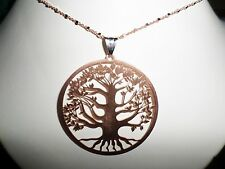 Tree of Life set, solid 925 sterling silver, red gold tint