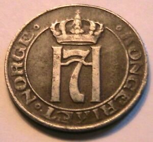 1920 Norway 5 Ore Choice Fine Nice (F) Toned Original Norge Five Ore World Coin