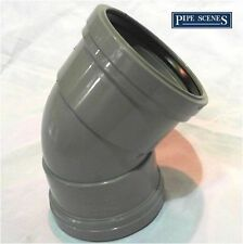 "4"" Grey Soil 135° Bend Double Socket Pushfit Waste 110mm Stack Vent Pipe Drain"