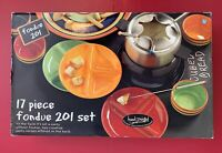 NEW 17 pc TABLETOPS Unlimited Kitchen Prep 201 Multi-Color Striped Fondue Set