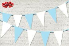 Baby Blue Coloured Bunting Banner 15 Flags 12ft Baby shower Boy by PARTY DECOR