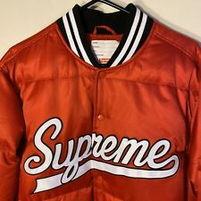 New 2016 Supreme Script Varsity Puffy Jacket Red Size Large Black Spell Out logo