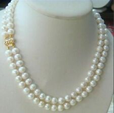 """22 """"Double strands 9-10mm natural south sea white pearl necklace  14K GOLD CLASP"""