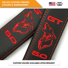 Seat Belt Covers Shoulder Pads Custom Fits Ford Mustang Coyote GT 5.0L Red 2PCS