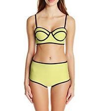 Bra Society Neoprene Yellow Full Coverage Bottoms Padded Top Bikini Sz XL NWT