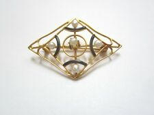 ANTIQUE 10K YELLOW GOLD PIN BROOCH WITH SMALL PEARLS AND BLACK ENAMEL