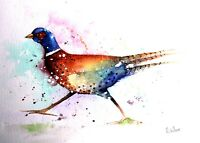 A4 21cm x 29.7cm ORIGINAL *PHEASANT* Watercolour Painting by Maria Moss