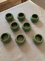 Tahari Home Glass BEADED GREEN Napkin Rings (set of 8)