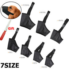 7x Pet Dog Mouth Muzzle Grooming Mask Nylon No Bark Bite Chewing Cover + Gift