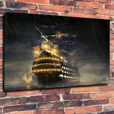 "British Sailing Ship Art Printed Box Canvas Picture A1.30""x20""30mm Deep Nautical"