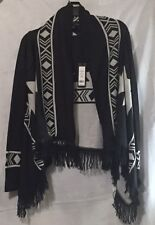 Women's  Open Front Swing Cardigan Charcoal/Ivory By Romeo& Juliet NWT Size: M/L