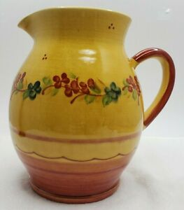 Terre E Provence Art Pottery Wide Body Pitcher Handpainted France Yellow TPR4