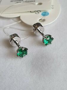 Russian Silver 925 green CZ stud earrings screw backs SOKOLOV NWT