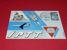 CPA PHILATELIE 21e CONGRES IPTT AVION SATELLITE PARIS POSTE TIMBRE  0,45 F 1972