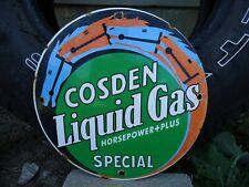 OLD COSDEN LIQUID GAS HORSEPOWER+PLUS SPECIAL PORCELAIN ENAMEL GAS PUMP SIGN