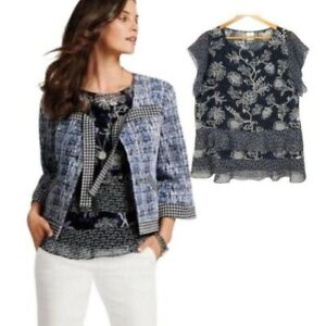 EUC CAbi #5355 Black Blue Floral Print Tiered Ruffle Hybrid Blouse Size Small
