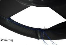 REAL BLACK LEATHER STEERING WHEEL COVER BLUE STITCH FITS 61-64 CHEVROLET BEL AIR