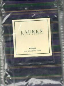 Ralph Lauren Studio REP Stripe Purple Standard Sham  Green Gold New 1st Quality